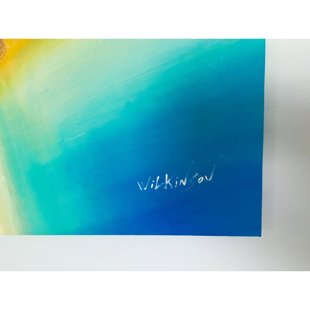 Yellow & Blue Modern Abstract Painting - Image 4 of 5