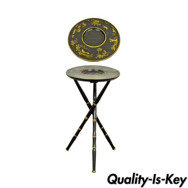 Traditional Antique Victorian English Decorated Faux Bamboo Tripod Occasional Side Table For Sale - Image 3 of 11
