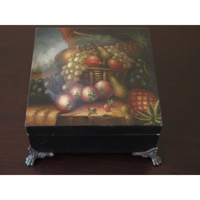 Maitland Smith Paint Decorated Leather Wrapped Dresser Top Box Age: Approx: 10 Years Old Details: Nice Decorative Lidded...