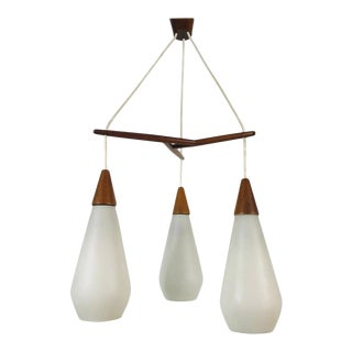 Midcentury Teak and Opaline Glass Cascade Pendant Lamp in the Style of Luxus For Sale