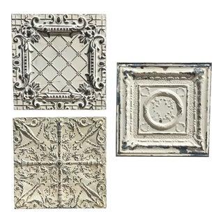 Vintage Tin Ceiling Tiles - Set of 3 For Sale