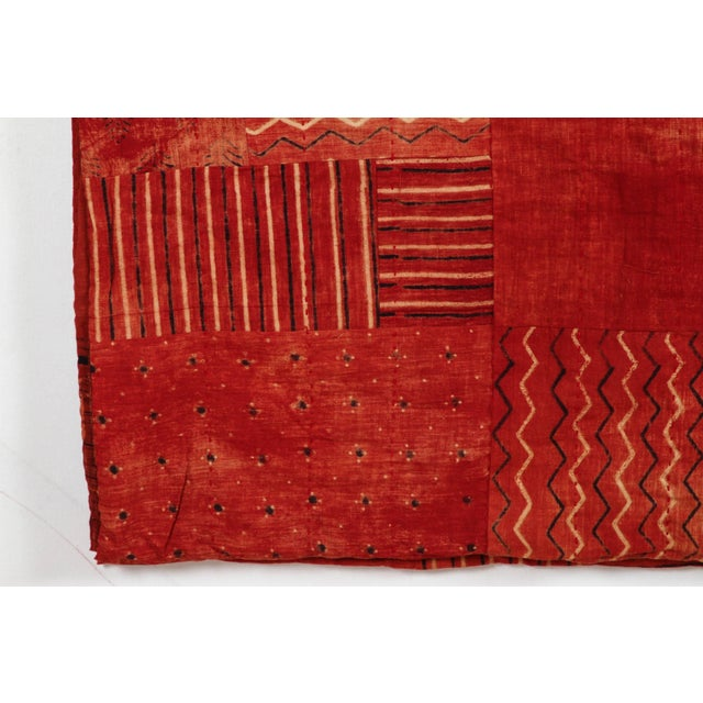 Contemporary Indian Red Quilted Cotton Bedcover For Sale - Image 3 of 5