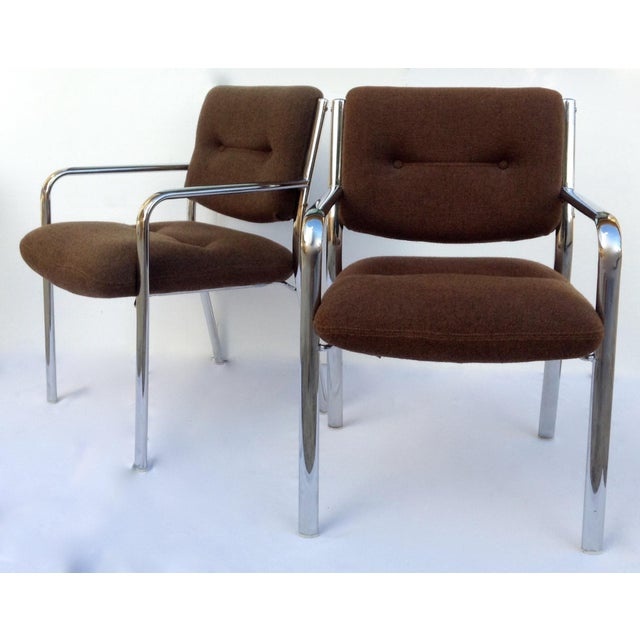 Vintage Chrome Arm Chairs w/Knoll Textile - A Pair - Image 4 of 11