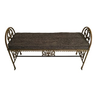 1920s Vintage Oscar Bach Style Bronze and Iron Bench For Sale