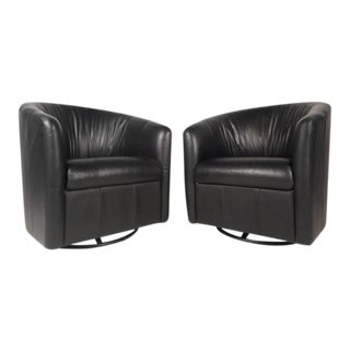 Pair of Vintage Modern Swivel Barrel Back Lounge Chairs For Sale
