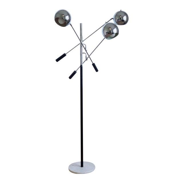 3 Arm Chrome Eyeball Floorlamp With Italian Marble Base For Sale