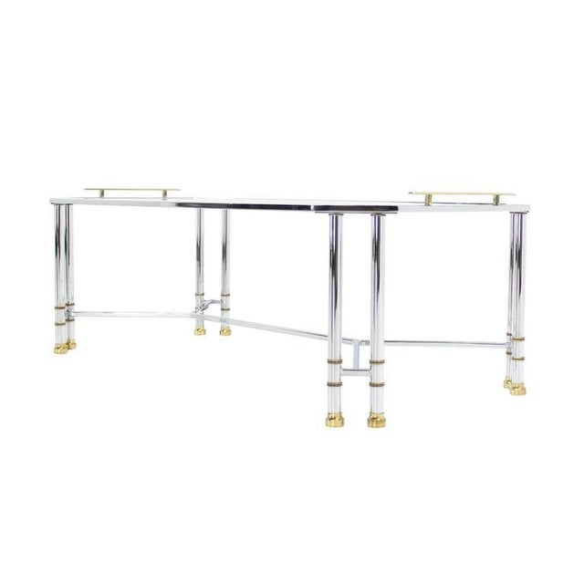 Metal Mid Century Modern Chrome Brass Glass Rectangular Coffee Table For Sale - Image 7 of 8