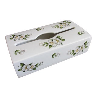 Late 20th Century Porcelaine De Paris Tissue Box Cover For Sale