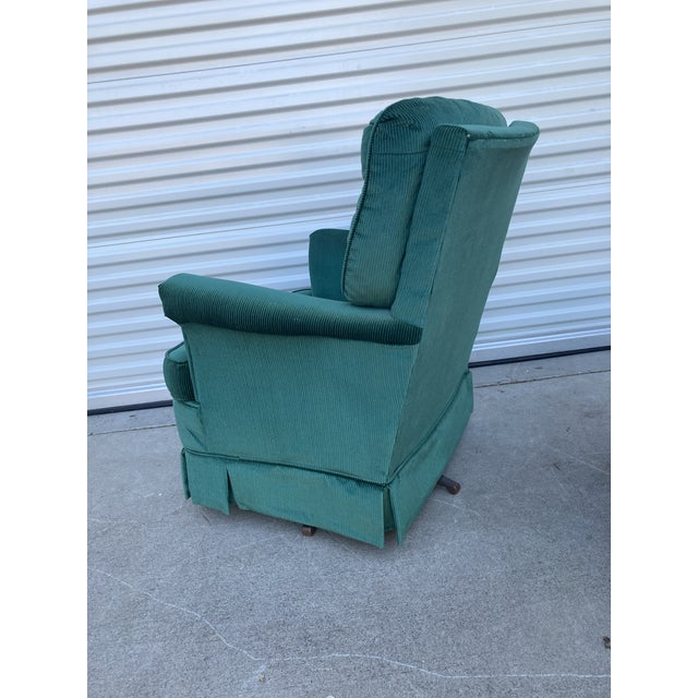 Broyhill Vintage Broyhill Emerald Green Chair and Ottoman For Sale - Image 4 of 13
