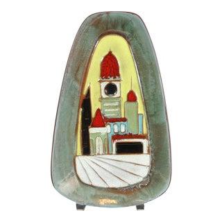 Harris Strong Mid Century Triangular Enamelled Ceramic Art Piece For Sale