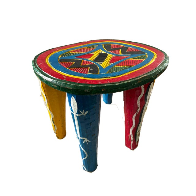 """African African Old Nupe Stool Nigeria 12"""" H For Sale - Image 3 of 8"""