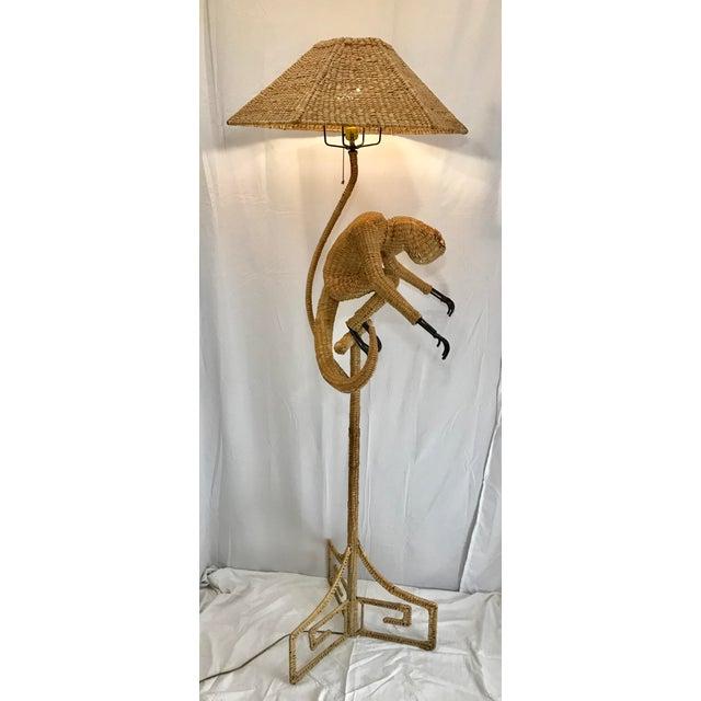 1970s 1970s Mario Lopez Torres Mid-Century Wicker Monkey Floor Lamp For Sale - Image 5 of 13