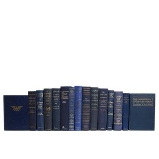 Midcentury Denim & Gilt American History, S/15 For Sale