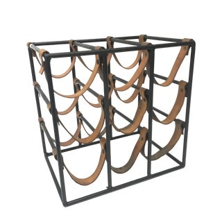 Arthur Umanoff Iron & Leather Wine Rack For Sale