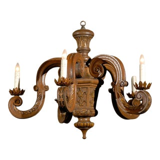 French 19th Century Five-Light Carved Oak Chandelier with S-Scroll Arms For Sale