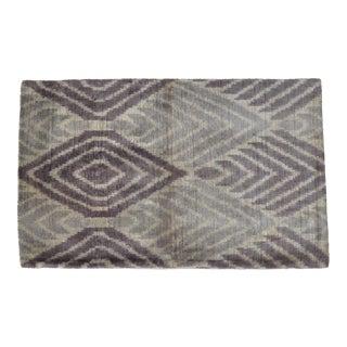 Purple Silk Velvet Pillow With Geometric Pattern For Sale