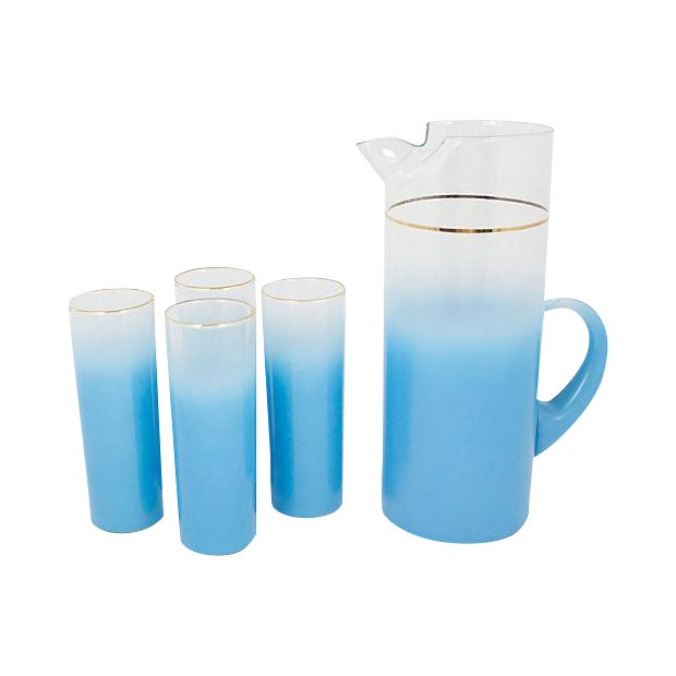 Mid-Century Pitcher With Glasses - Set of 5 For Sale
