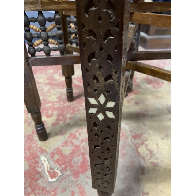 Antique Moroccan Round Brass Tray Side Table For Sale In Chicago - Image 6 of 10