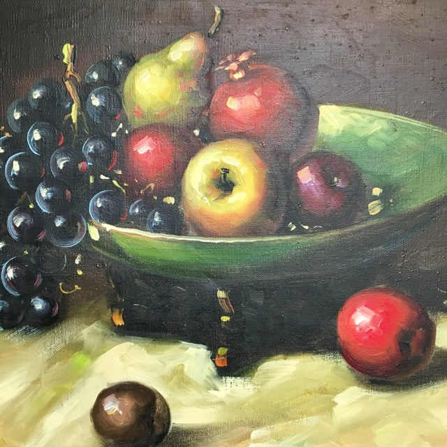 Vintage Bowl Of Fruit Still Life Oil Painting Signed By Artist