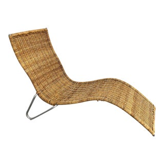 1970s Wicker Chaise Lounge With Aluminum Legs For Sale
