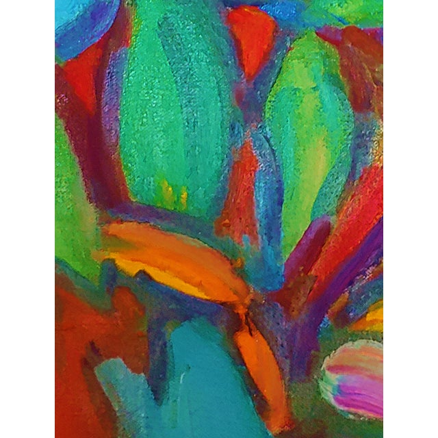 This is a very large original abstract nude painting by late artist Richard Youniss, known for his bold use of color...