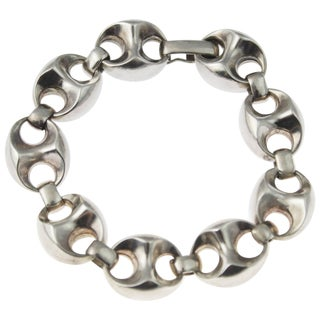 1970s Classic Silver Anchor Link Bracelet For Sale