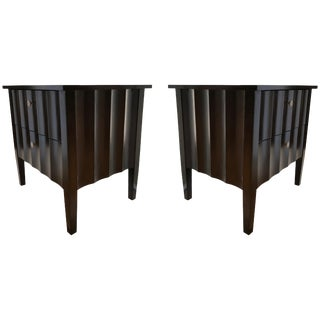 Modern Chocolate Brown Nightstands With Scalloped Detail on Drawers and Sides For Sale