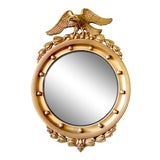 Image of 19th Century American Federal Giltwood Eagle Convex Mirror For Sale