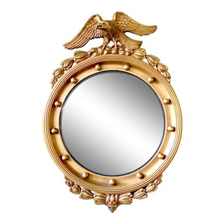 19th Century American Federal Giltwood Eagle Convex Mirror For Sale