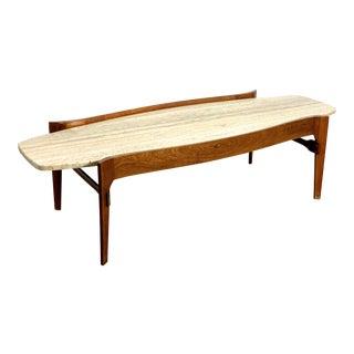 1960's Mid-Century Modern Bertha Schaefer Style Walnut & Travertine Coffee Table For Sale