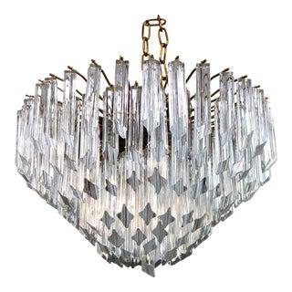 Mid-Century Modern Italian Venini Quadriedri Prism Chandelier For Sale
