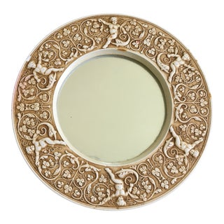 1980s Neoclassical Plaster Circular Mirror For Sale