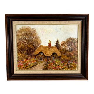 1980s Vintage English Cottage Garden Oil Painting by Alex Jawdokimov For Sale