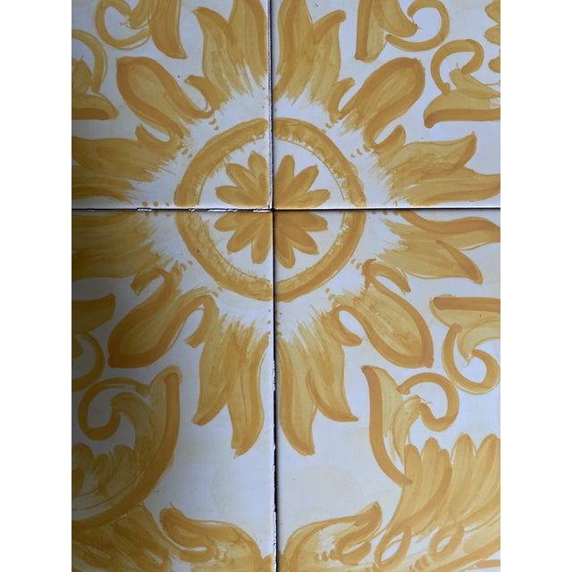 Italian Vintage Italian Terra-Cotta Hand Painted Glazed Tiles - Set of 4 For Sale - Image 3 of 8