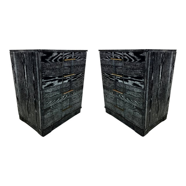 Pair of Ebonized Cerused Oak Bachelors Chests With Brass Hardware For Sale