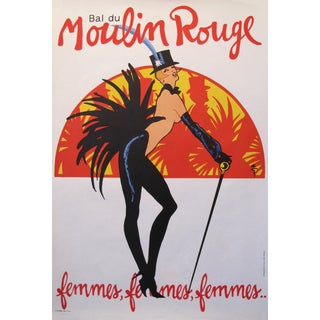 1980s French Vintage Moulin Rouge Poster, Femmes by Rene Gruau Women For Sale