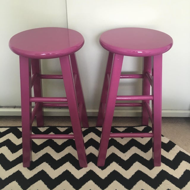 Glossy Mulberry Stools - Pair - Image 2 of 6