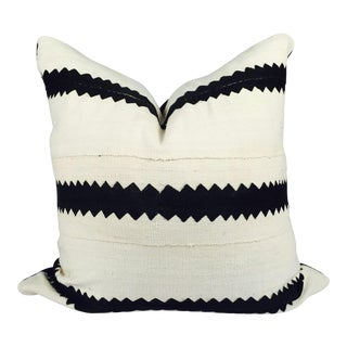 White and Black Striped Mudcloth Pillow For Sale