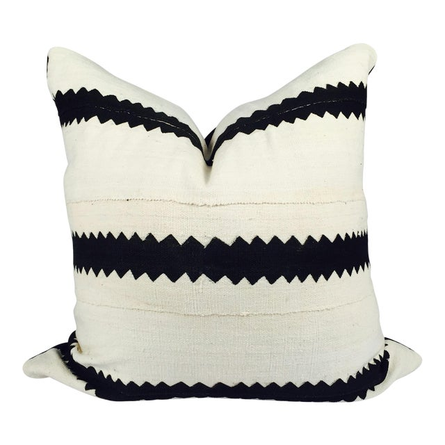 White and Black Striped Mudcloth Pillow - Image 1 of 5