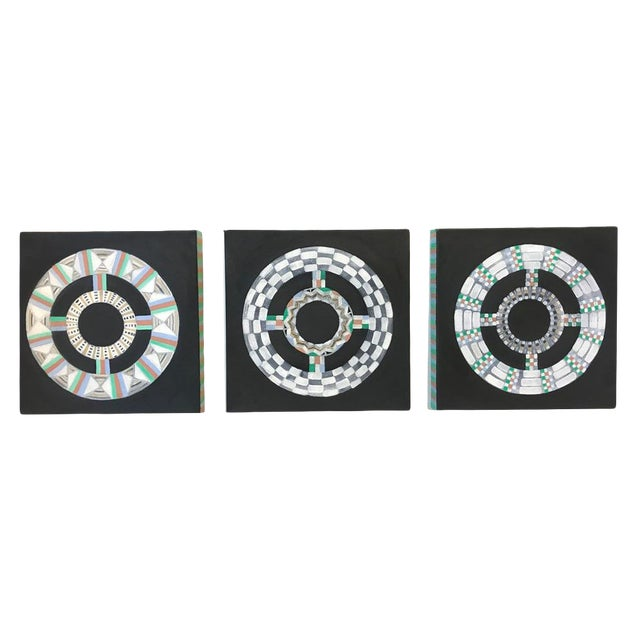 Natasha Mistry Contemporary Black Oil Paintings - Set of 3 For Sale