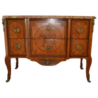 19th Century Transitional Style Tulip Wood Inlay Commode With Original Marble For Sale
