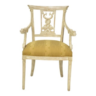 Whitewash Wood Chinese Style Dolphin Side Chair