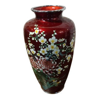 Vintage Japanese Beautiful Red Cloisonné Flower Vase