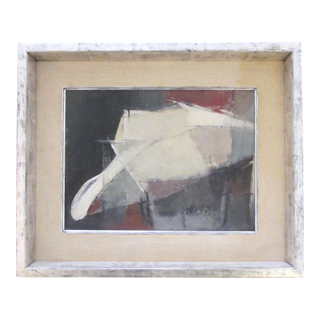 A moody American 1960's oil abstract painting of a man with hat; signed For Sale