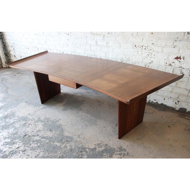 Excellent Curved Top Walnut Harvey Probber Executive Desk For Sale - Image 13 of 14