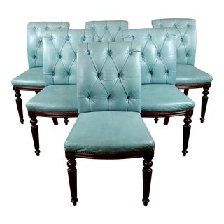 1950s Vintage Jonas Tufted Teal Blue Leather & Mahogany Dining Chairs -Set of 8 For Sale