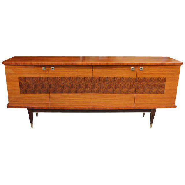 French Art Deco Light Macassar Ebony Sideboard / Buffet Circa 1940s - Image 9 of 10