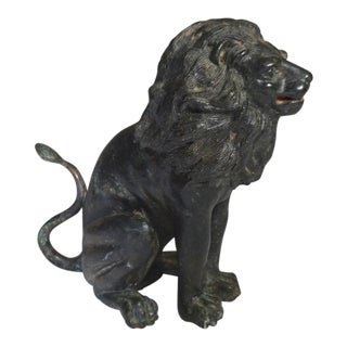 Cast Bronze Lion Figurine