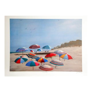 """Umbrellas"" Signed Beach Lithograph by Jean L. Barton"
