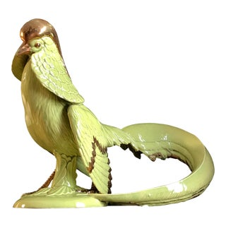 Early 20th Century Jade Green and Gold Porcelain Chinese Rainbow Pheasant For Sale